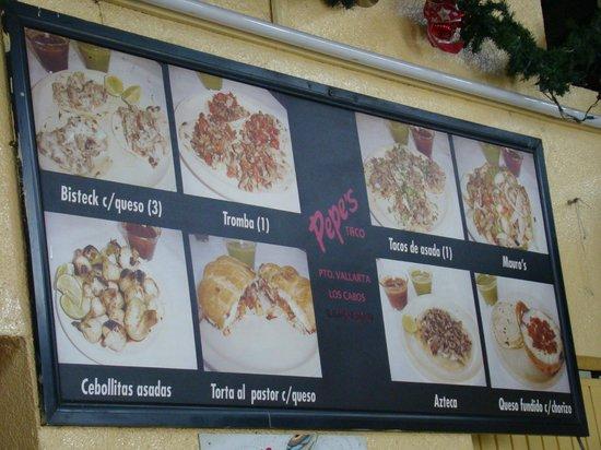 Part Of The Menu Picture Of Pepe S Tacos Puerto Vallarta Tripadvisor