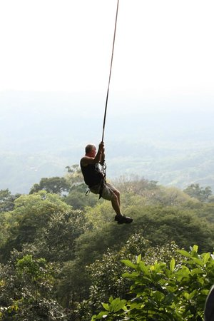Osa Canopy Tour: One of the guys in our group on the tarzan swing at the end