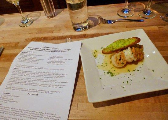 A Chef's Kitchen: Gulf Shrimp with Artichokes and Fennel and Ciapatta