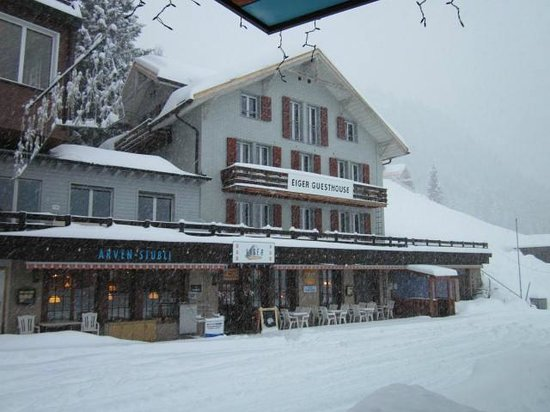 Snow falling on The Eiger Guesthouse as I left 11 01 13