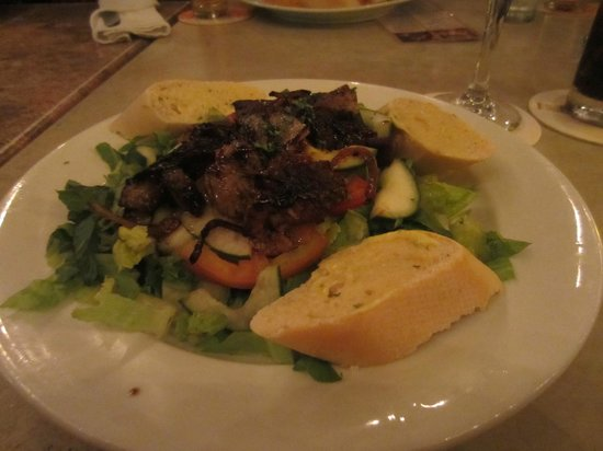 The Plaza Cafe : Chicken liver with salad.