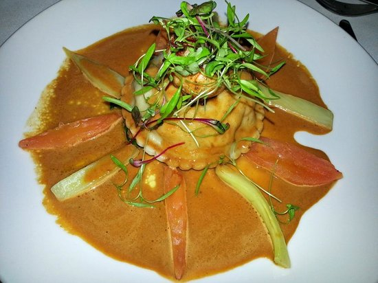 Charr: raviola of prawn and scallop, roasted Moreton Bay Bug with shellfish bisque and tarragon