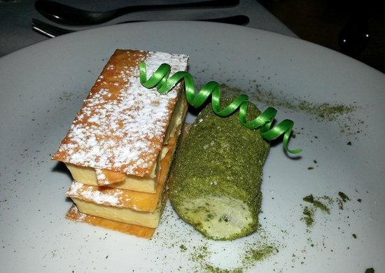 Charr: liquorice semi freddo, sweet filo and brulee custard