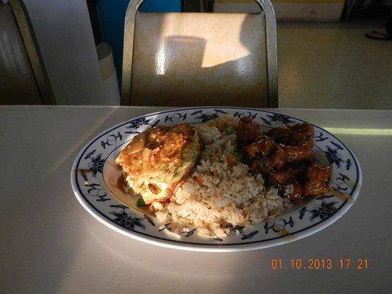 Hong Kong Chop Suey: egg fu young, orange chicken, fried rice