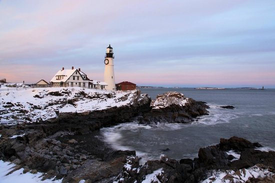 Sunset and snow at Portland Head Light