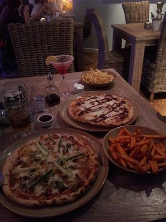Charlie's Boathouse: Chinese duck pizza, chicken & chorizo pizza (with added BBQ sauce), skinny fries & sweet potato