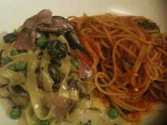 Carmelo's Ristorante Italiano: Spaghetti Pomodoro & Fettucini with wild mushrooms, peas & ham