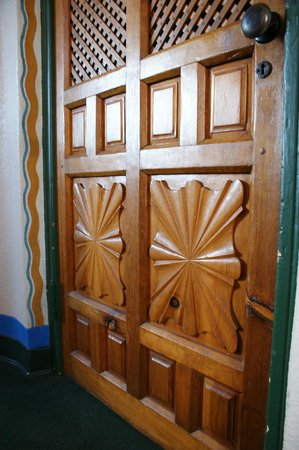 The Hacienda : Entry door woodwork detail