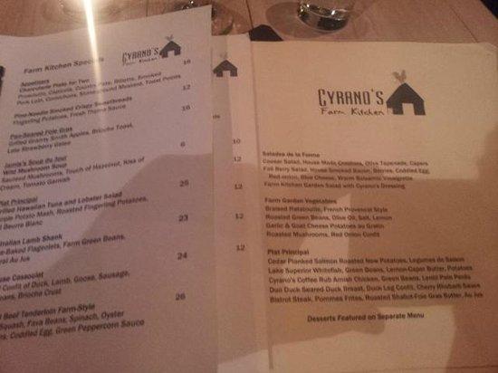 Cyrano's Farm Kitchen: The menu