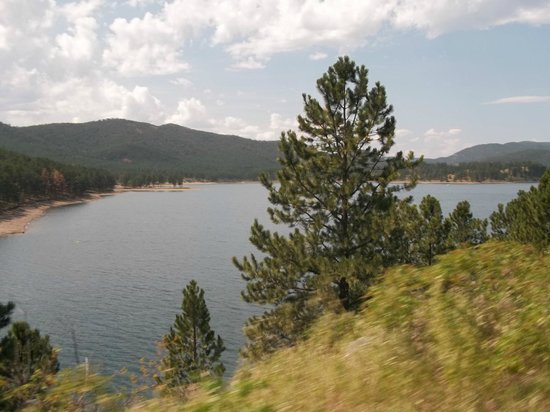 Pactola Lake from the back of the motorcycle