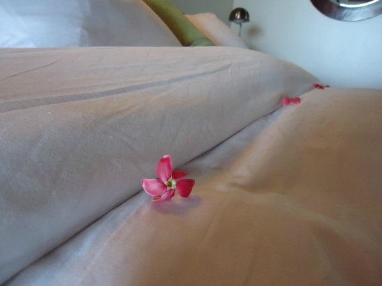 Le Petit Hotel: Lovely blooms on the bed!