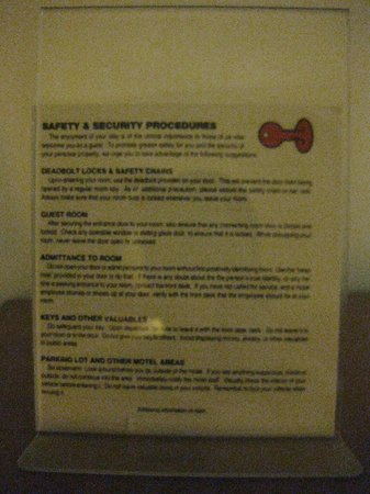 Super 8 Florida City/Homestead: Page long security suggestions!  I feel safe now!  :(