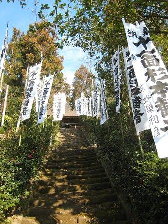 Sugimotodera Temple: 苔むす階段の奥が本堂(この階段を迂回して登ります)