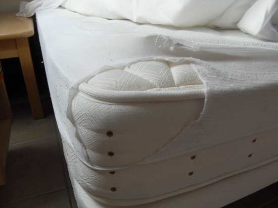 Cinco Plazas: Mattress topper ripped!