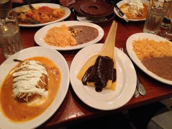 Sabor a Mexico: Chile relleno, pork tamal, rice and beans