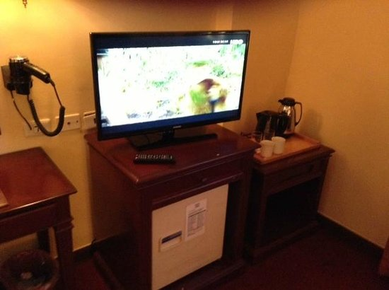 Bayview Park Hotel Manila: TV, ref, hair dryer and cofee making facility