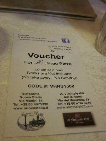 Al Viminale Hill Inn & Hotel: Detalle bienvenida (pizza)
