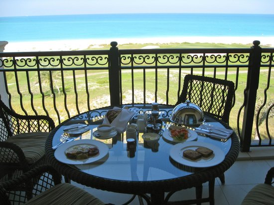The St. Regis Saadiyat Island Resort: Room service breakfast on the balcony