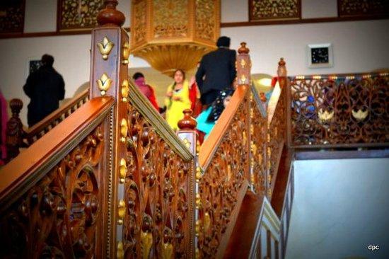 Guru Nanak Darbar Gurdwara: ornate wooden carved staircasea