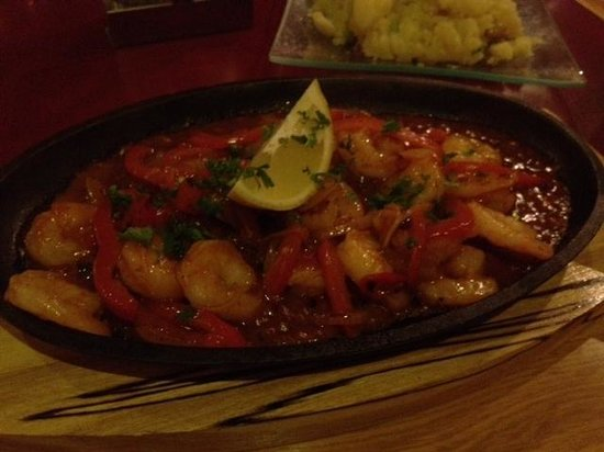 Restaurace Sklenik: Shrimp with peppers
