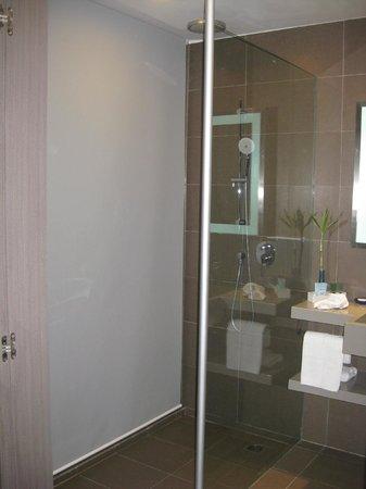 Novotel Bangkok Ploenchit Sukhumvit: Kaum erkannbar ist die Dusche links, ohne hellen Vorhang hätte man Blick auf das Bett