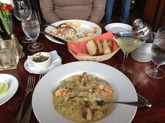 Meritage : Prawns on a bed of mushroom risotto (near) and lobster pizza(far).  Cucumber martini.