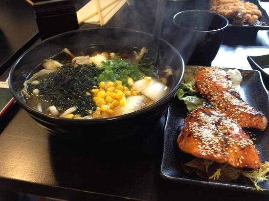 St. Sushi: salmon and udon soup