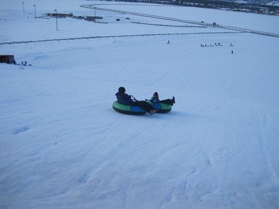 Fraser Tubing Hill: Tubing down together (we did do all 6 at a time too)