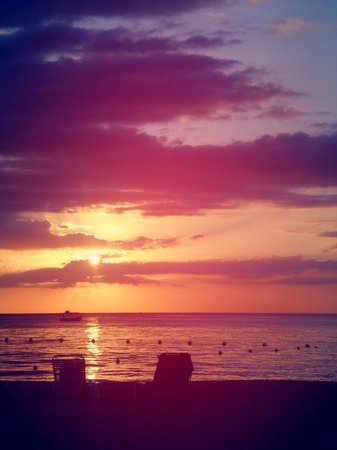 Secrets Cabins on Negril Beach: Sunset from the bar at Firefly