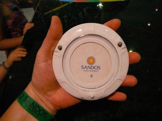 Sandos Caracol Eco Resort: Pagette qu'on remet aux parents au kid's club pour garder contact