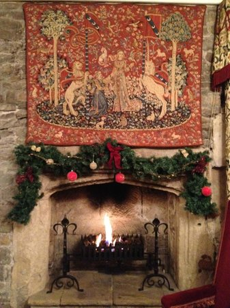 Thornbury Castle and Tudor Gardens: Our cozy fireplace :-)