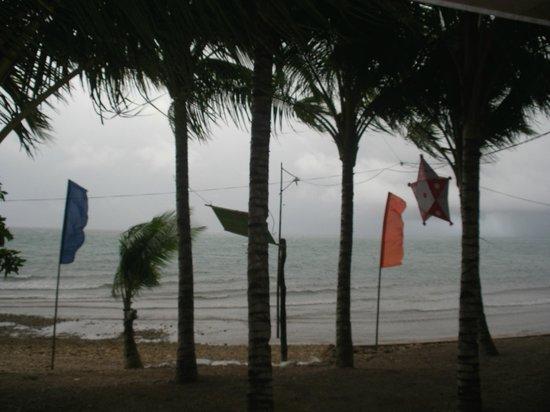 The storm hitting the beach at Recuerdo Beach Resort