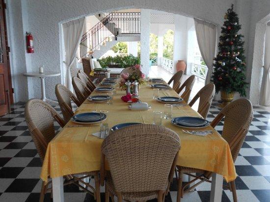 Golden Clouds Villa Estate: Our breakfast setting each morning