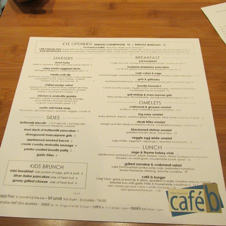 Cafe b: Brunch Menu as of 1-6-13