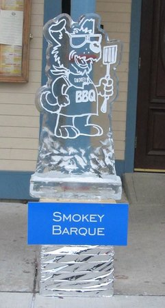 Smokey Barque: Ice sculpture outside