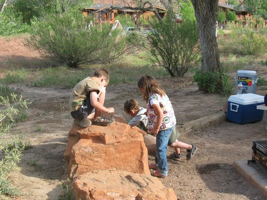 ‪‪Watchman Campground‬: Kids playing with ants‬