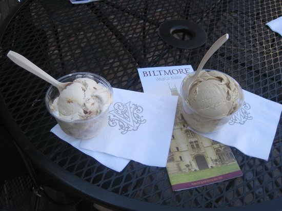 Biltmore Estate Ice Cream Parlor: Single scoops of Butter Pecan and Coffee
