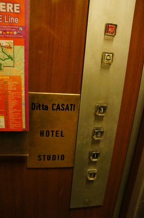 The little elevator to the 3rd floor & Hotel Casci