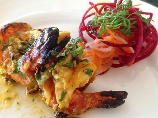 Taj Exotica Resort & Spa Goa: the yummy tandoori shrimp!