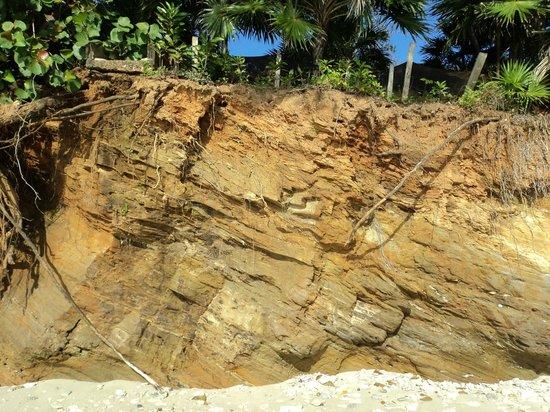 Media Luna Resort & Spa : La falaise près au pied d'une partie de la plage, très impressionnante la terre comprimée.