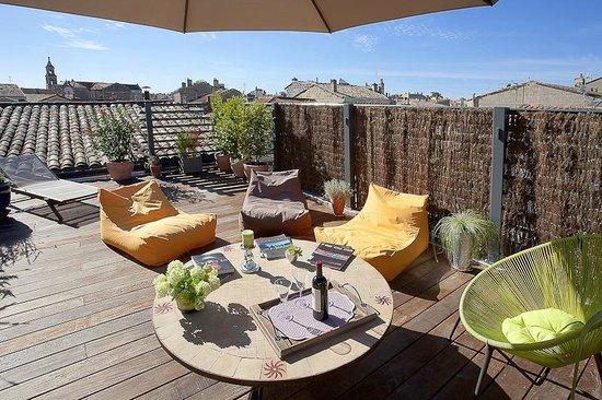 La Villa Chaleemar : Vue de la terrasse sur les toits des Chartrons