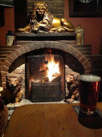 The Golden Lion Hotel: Roaring fire at The Golden Lion, Newport, Pembrokeshire