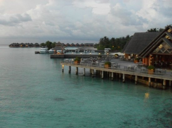 Baros Maldives: view of breakfast terrace from the Lighthouse