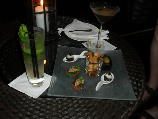 Baros Maldives: chef's offerings for nibbles during drinks at the Lighthouse