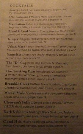 Gram & Dun: Cocktail menu