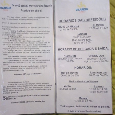 Conservatoria, RJ: carta do hotel