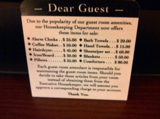 Quality Inn Flamingo: Don't steal placard