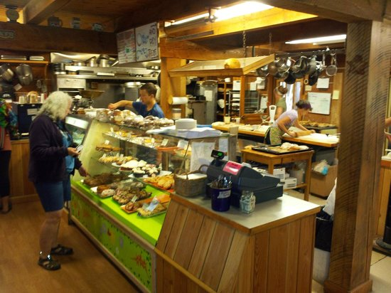 Inside Stehekin Pastry Company ... expect a line if the park shuttle bus has just pulled in.