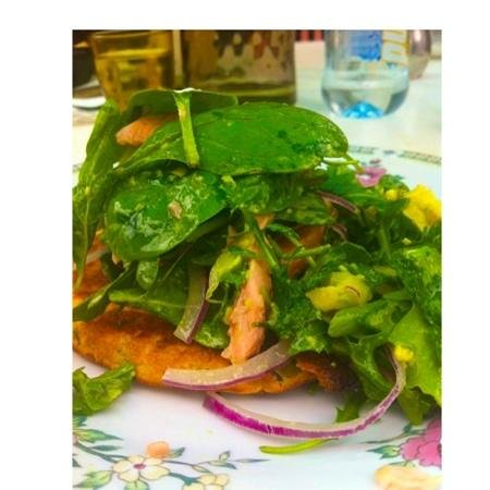 Coral Lee: potato pancake with smoked trout!