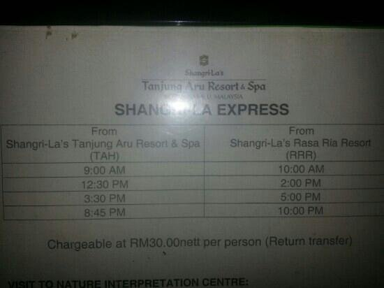 Shangri-La's Tanjung Aru Resort & Spa: Bus times to other shangri la hotel :-)